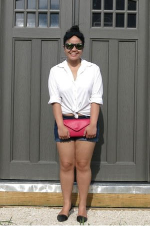 navy Forever 21 shorts - white Holt Renfrew shirt - hot pink Boes Ltd bag