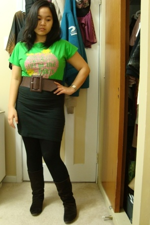 brown Sirens belt - brown le chateau boots - black Dynamite leggings