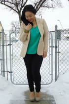 green Forever 21 top - beige H&M blazer - black joe fresh style pants