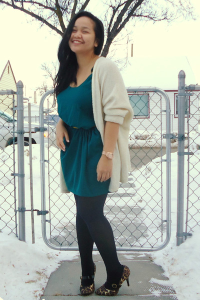 black tights - brown Payless shoes - dark green Zara dress