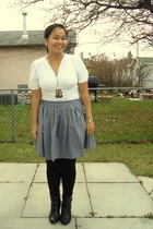 Old Navy top - aa skirt - Dynamite leggings - Sirens boots - Divi necklace - bow