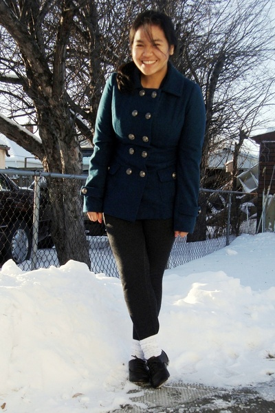 blue Forever 21 coat - black garage leggings - white SM socks - brown GoJane sho
