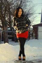 black jacket - red Mariposa top - black garage leggings - black Celine shoes