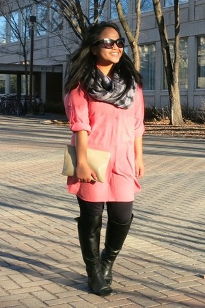 black Zara boots - salmon Zara dress - navy Zara leggings