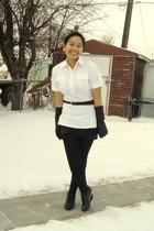 white Divi top - black Suzy Shier belt - black Divi skirt - black Dynamite leggi