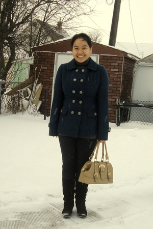 Forever21 coat - black garage leggings - brown le chateau boots - gold Celine pu