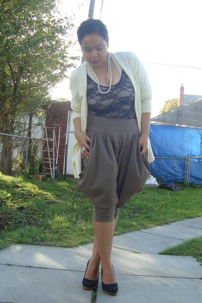 yellow H&M cardigan - black American Apparel suit - green Forever 21 pants - whi