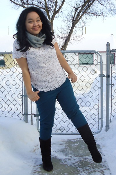white Talula top - dark brown le chateau boots - black puffy jacket