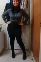 black necklace - black shoes - black belt - black skirt - gray top