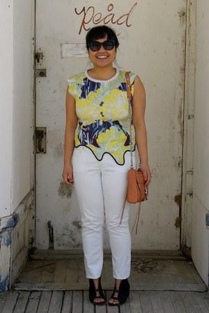 black Forever 21 sunglasses - orange Rebecca Minkoff bag - white Gap pants