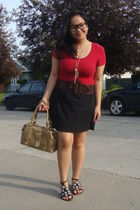 red Sirens suit - brown Sirens belt - black Greenhills skirt - gold Celine purse