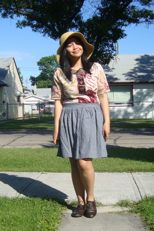 8ec564cb07c39 beige Walmart hat - white Juana top - gray American Apparel skirt - brown  GoJane