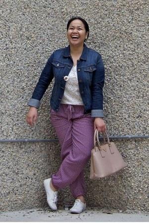 white Talula top - navy banana republic jacket - light pink Prada bag