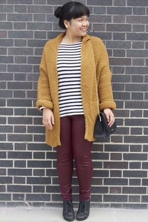 black Forever 21 bag - brick red Forever 21 leggings - white striped JCrew top