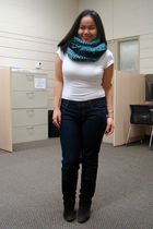 blue H&M scarf - white Suzy Shier shirt - blue Forever 21 jeans - brown le chate