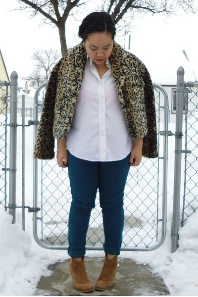 leopard print Forever 21 jacket - brown asos boots - white Holt Renfrew shirt