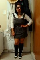 calvin klein top - Sirens dress - Suzy Shier belt - socks - shoes - glasses