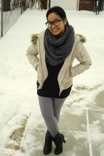 beige jacket - black Dynamite top - gray American Apparel scarf - silver America
