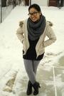 Beige-jacket-black-dynamite-top-gray-american-apparel-scarf-silver-america