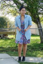 blue Gap shirt - blue vintage dress - black Aldo shoes - Forever 21 accessories