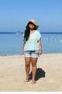 Beige-target-hat-black-forever-21-sunglasses-aquamarine-pacsun-top