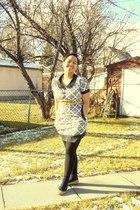 white Juana dress - yellow joe fresh style belt - blue socks - yellow shoebox sh