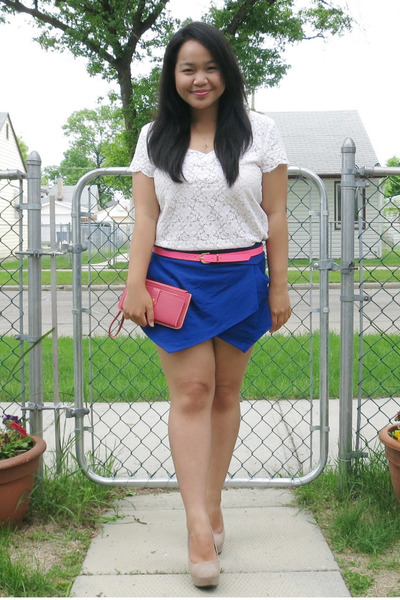 blue skort Zara shorts - hot pink bag - hot pink H&M belt