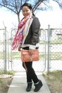 Dark-brown-burlington-jacket-white-tna-shirt-red-anthropologie-scarf