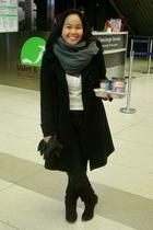 black Sirens coat - gray American Apparel scarf - black American Eagle jeans - w
