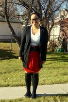 Old Navy sweater - Old Navy belt - Suzy Shier top - Mariposa skirt - SM socks -