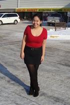 red Stitches suit - black Divi skirt - black Suzy Shier belt - black payless tig