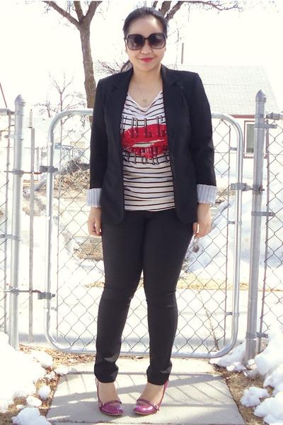 black Suzy Shier blazer - off white H&M top - black Club Monaco pants