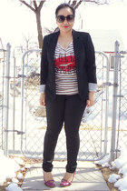 black Suzy Shier blazer - off white H&M top - black Club Monaco pants