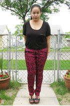black H&M top - maroon H&M pants - black seychelles heels