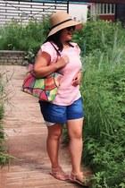 beige sammydress hat - hot pink unknown brand bag - blue sammydress shorts