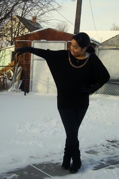 black Sirens top - beige Divi top - black garage leggings - brown le chateau boo