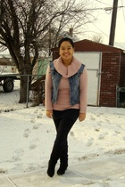 pink Old Navy sweater - blue Nitrogen vest - black Divi skirt - black Dynamite l