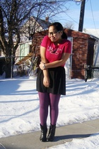 pink hollister shirt - purple Ardene tights - black Divi skirt - black Sirens bo