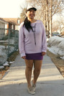 Light-pink-roxy-hat-pink-wildfox-sweater-purple-zara-skirt