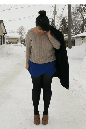 brown Zara boots - black Zara coat - beige American Eagle sweater