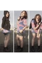 red killer boots doc martens boots - black Zara jacket - blue unbranded shorts