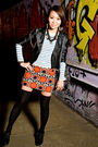 Black-h-m-jacket-blue-gap-top-red-h-m-skirt-black-shoes-black-necklace-