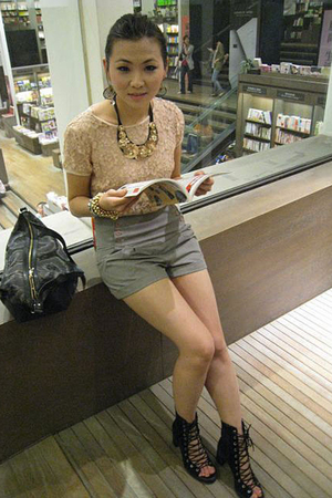 H&M top - Topshop shorts - acne shoes - vivienne westwood accessories - necklace