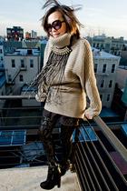 silver H&M sweater - black Forever 21 skirt - black leggings - black sam edelman