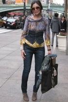 H&M blouse - pepe vest - killah jeans - Nine West shoes - YSL accessories - sung