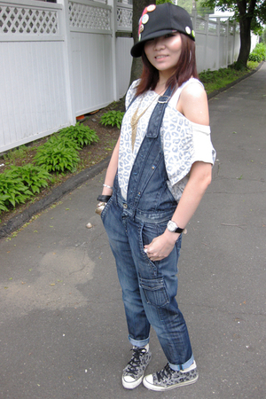 hat - top - Miss Sixty jeans - Converse shoes - Forever21 necklace - H&M bracele