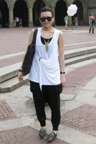 Zara top - pants - shoes - YSL accessories - Forever21 necklace - H&M sunglasses