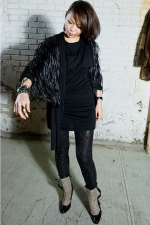 black Rebecca Minkoff bracelet - black H&M leggings - white shoes - black dress