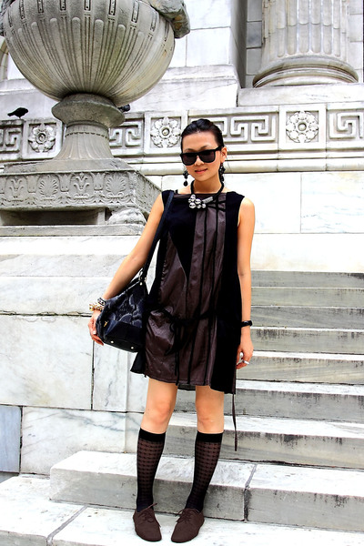 brown dress - brown shoes - black socks - black H&M glasses