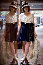 blue ADAM skirt - white Rebecca Taylor blouse - blue shoes - beige Walter blazer